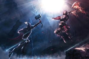Thor Vs Kratos 4k Wallpaper