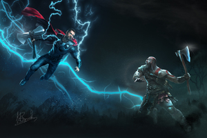 Thor Vs Kratos Art