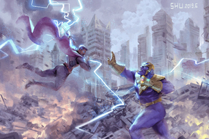 Thor Vs Thanos Art Wallpaper