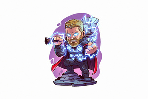 Thor With Hammer Minimal 5k Wallpaper