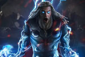 Thor With Mjolnir And Stormbreaker Wallpaper