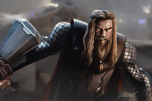 Thor With Stormbreaker Wallpaper