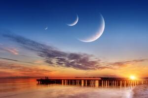 Three Moons Sky Wallpaper
