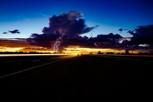 Thunder Storm Lightning Highway Light Trails 5k Wallpaper