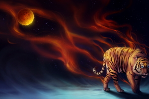 Tiger Fantasy Magical Flame 4k