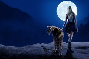Tiger Girl Moon 4k