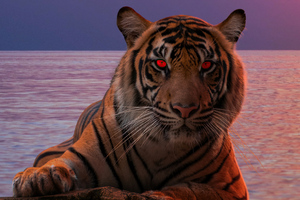 Tiger Glowing Red Eyes 5k Wallpaper