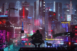 Tokyo Future State Warrior With Cat 4k Wallpaper