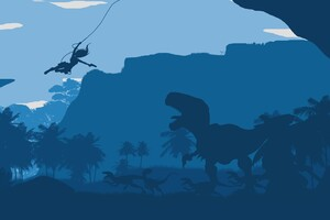 Tomb Raider Dinosaur Minimalism 4k Wallpaper