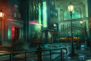 Town Night Digital Art 4k Wallpaper