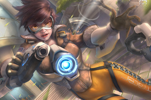Tracer Ovewatch Artwork 5k Wallpaper