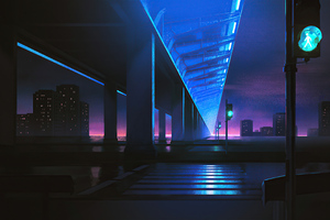 Traffic Lights Night City 4k Wallpaper