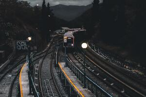 Train Railways Dark Evening Photography Wallpaper
