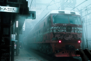 Train Smog Grafitti Wallpaper