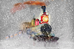 Train Snow Snowflakes Artwork 8k