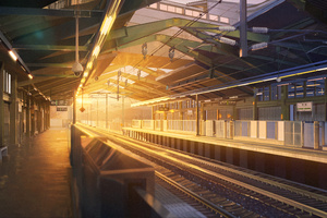 Train Station Anime 5k Wallpaper