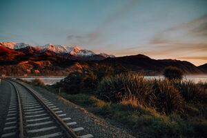 Train Track Ocean Beach Mountain Photography 5k Wallpaper