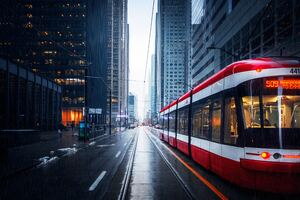 Tram In Downtown Toronto Wallpaper