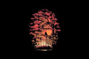 Tree Birds Dark Minimal 4k Wallpaper