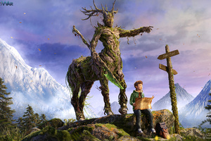 Tree Horse And Boy Sitting On Rock With Map Wallpaper