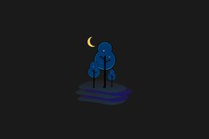 Tree Minimal Moon 4k