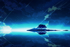 Tree On Mountain Anime Wallpaper