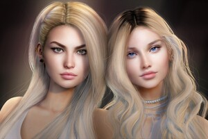 Two Blonde Pretty Fantasy Girls Wallpaper