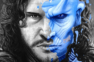 Two Face Jon Snow White Walker Splatter Portrait 5k Wallpaper