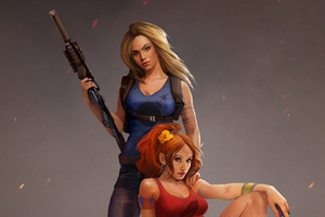 Two Girl Guns Up Wallpaper