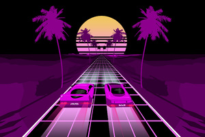 Two Sports Car Retrowave Art