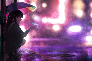 Umbrella Rain Anime Girl 4k Wallpaper