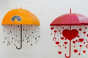 Umbrellas Drawing Heart