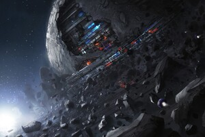 Universe Planet Spacestation Futuristic Digital Art Wallpaper