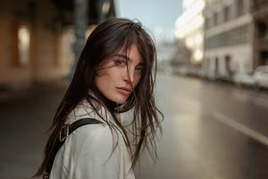 Urban Girl In Street Hair Over Face 4k Wallpaper