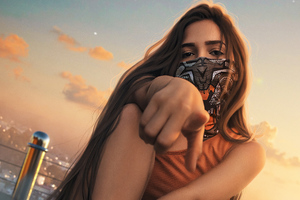Urban Girl Mask Outdoor Wallpaper