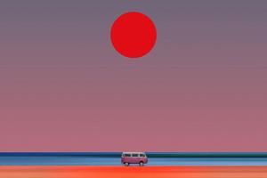 Van Beach Minimal Sun 8k Wallpaper