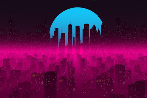 Vapor Synthwave Retro City 4k Wallpaper