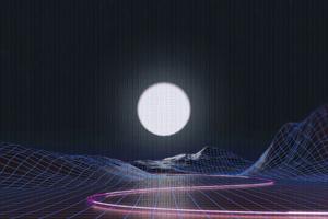 Vaporwave Grid Moon 4k