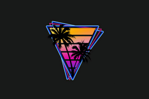 Vaporwave Triangle Palm Trees 4k