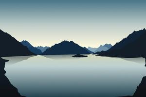 Vector Landscape Reflection Mountains 4k