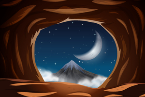 Vector Night View From The Cave Wallpaper