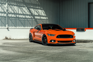 Velgen Wheels Orange Ford Mustang 8k Wallpaper