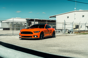 Velgen Wheels Orange Mustang 8k Wallpaper