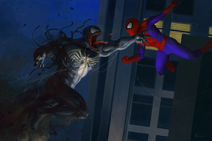 Venom And Spiderman Artwork Wallpaper