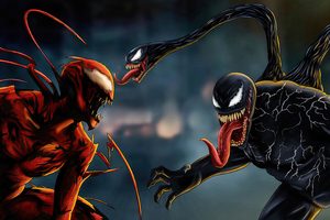 Venom Carnage Battle Concept Art Wallpaper