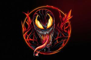 Venom Carnage Fire Minimal 8k Wallpaper