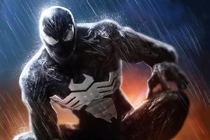 Venom In Rain 4k Wallpaper