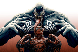 Venom Spiderman Cool Artwork 4k