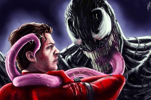 Venom Vs Spiderman Homecoming Artwork 5k