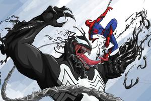 Venom Vs Spiderman Marvel Fan Art 4k Wallpaper